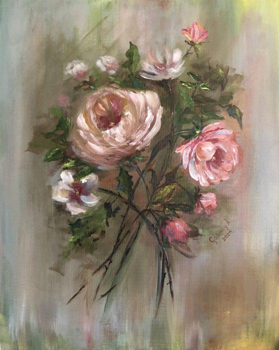 Rózsáim Akril vászontáblára, 30x40cm 2021