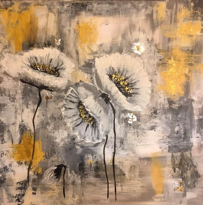 Fagyos virágok, akril vászonra, 50x40 cm, 2020